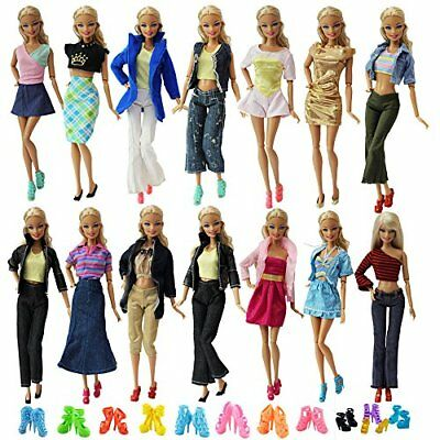 10 Set Mix Style Fashion Handmade Clothes Outfit +10 Pairs Shoes for Barbie Doll