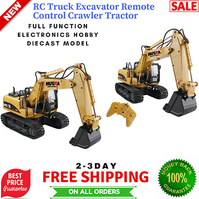 Remote Control Excavator RC Tractor Bulldozer Metal Crawler Truck Toy Digger Car