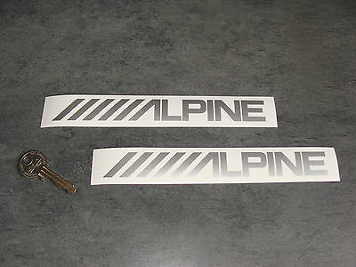 2x sticker alpine silver 18cm auto car audio decals sticker stickers a128 090