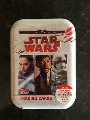 Star Wars: The Last Jedi Trading Card Collectors Tin. New & Sealed.