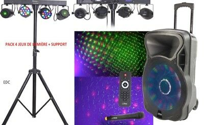 Pack   2 Projecteurs Par A Led +2 Lasers Support +Sono Portable 700W Micro Vhf
