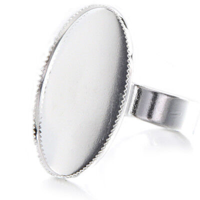 10 Adjustable Oval Cabochon Rings Support silver 18.3mm FP