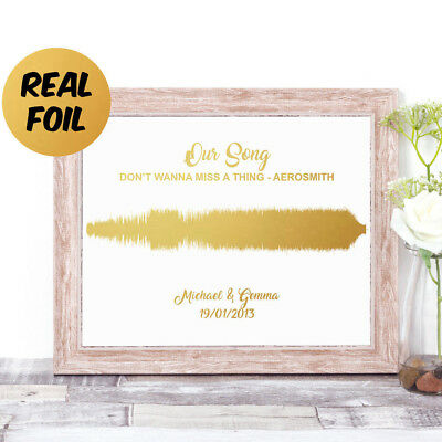 Personalised SOUNDWAVE Real Foil Word Art Print OUR SONG Wedding Valentines Gift