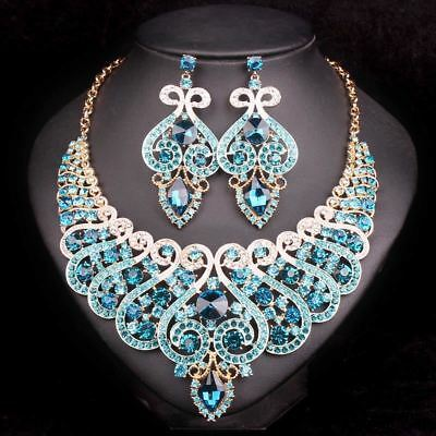Fashion Bridal Jewelry Sets Wedding Engagement Necklace Earring for Bride Party