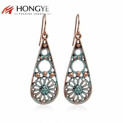 Brincos Vintage Earrings for Women Jewelry Antique Gold-Color Flower Hollow Out
