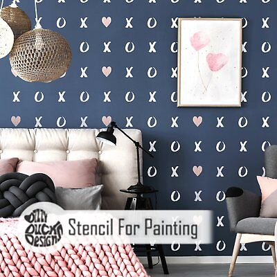 HUGS and KISSES Nursery Girls Bedroom Wall Furniture Floor Stencil for Paint