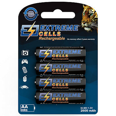 extremecells 4 PACCO Mignon AA Batteria HR6 pile NI-MH wieder Ricaricabile