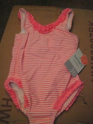 CARTER'S   Girls Size 6 - 9 MONTH    STRIPES  Bathing Swimming Suit     NWT