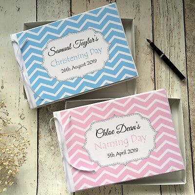 Personalised Baby Christening /naming Day Guest Book In Box ~ Pink/blue Chevron