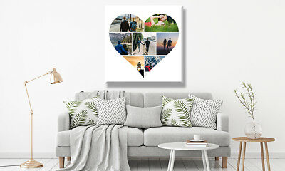 Heart Photo Collage Canvas Valentines Day Gift - Many Sizes, Designs In The Shop