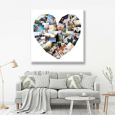 Valentines Day Gift -41 Image Heart Collage Photo Canvas - Many Sizes & Designs
