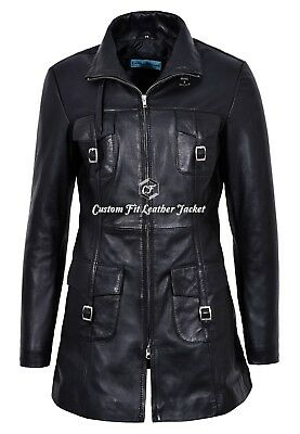 Ladies Mid Length Leather Coat MISTRESS 100% REAL Leather Coat Classic 1310