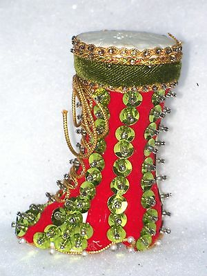 Vintage Beaded Sequin Green & Red Victorian Boot Christmas Decoration Ornament
