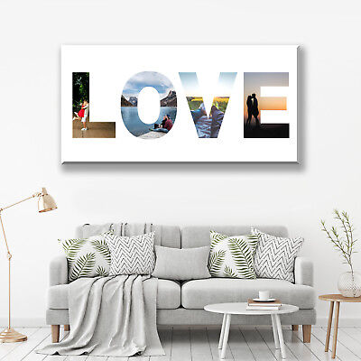 Love Photo Collage Canvas. Valentines Gift Personalised Home Decor. More In Shop