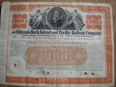 The Chicago,Rock Island and Pacific Railway Co. $1000 1898 FREE SHIPPING