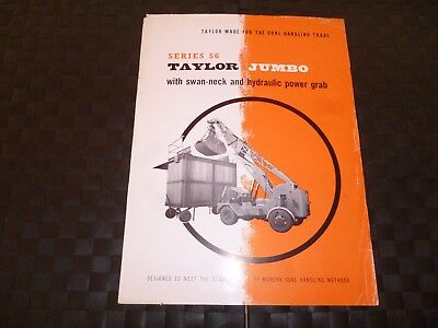 Taylor Jumbo Series 56 Swan-Neck Hydraulic Power Grab Crane Leaflet *as Pictures