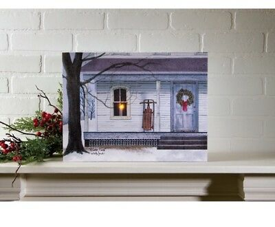 Winters Porch Radiance Battery Operated Lighted Canvas Print Billy Jacobs NEW