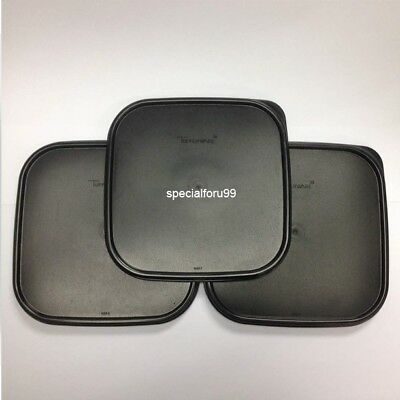 3 NEW Tupperware Modular Mates Square Lid Black Replacement Seal Cover MM #1623