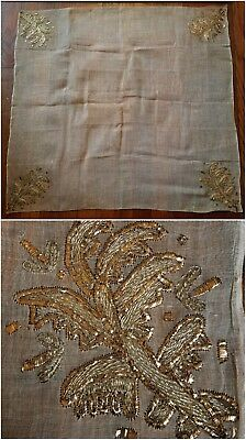 Antique Gold Metallic Embroidered Fine Linen Tablecloth Centerpiece 29x29