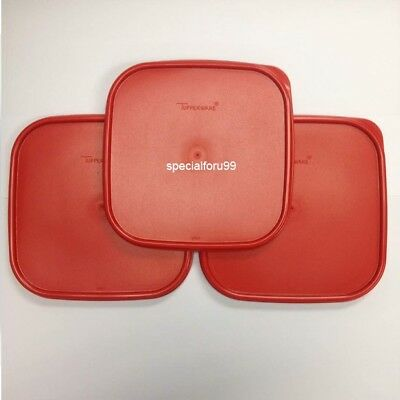 3 NEW Tupperware Modular Mates Square Lid Red Replacement Seal Cover MM #1623