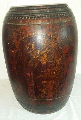 Large Antique Hand Made Painted Chinese Lidded Wood Barrel Basket Stand