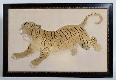 Antique Chinese Japanese Embroidered TIGER, Calligraphy on frame, embroidery