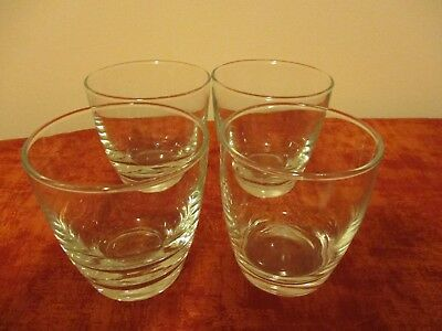 Vintage 1960's 4 Clear Cocktail Rocks, Stemless Wine, Tumblers Barware Glass