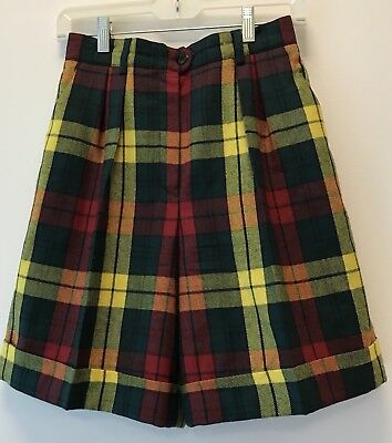 Vintage Escada Plaid 100% New Wool Pleated Bermuda Walking Shorts Sz 36