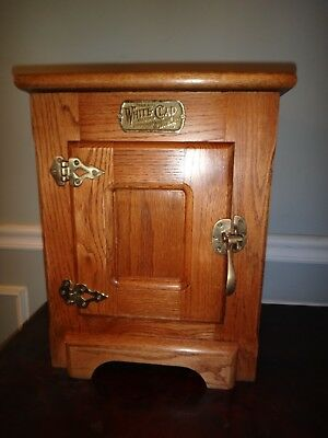 Vintage White Clad Antique Oak Ice Box Countertop Wine Bar Liquor Cabinet