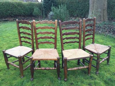 A Set of 4 18th Century Turned Ash Dining Chairs / Backstools