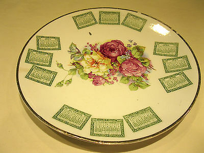 Vintage 1908 CALENDAR PLATE Rare Estate Sale Find Very Nice Collectible