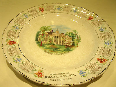 Vintage 1914 CALENDAR PLATE Rare Estate Sale Find Very Nice Collectible