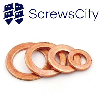 2mm Metric Copper Sealing Washers Metric Flat Rings Form A DIN 7603A - All Sizes