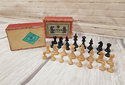 Beautiful Antique Boxwood Staunton Chess Pieces Men with box - Lovely & Old