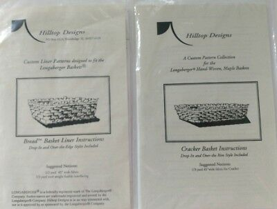Hilltop Designs Pattern for Longaberger Cracker and Bread Baskets Liners