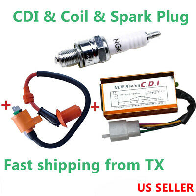 Set of Racing Performance 5 Pin CDI box C7HSA Spark plug Ignition coil Universal