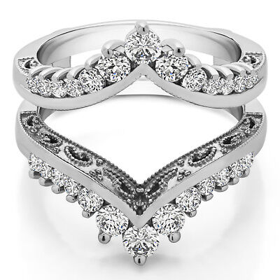 Sterling Silver Classic Curved Style Ring Guard 0.98tw