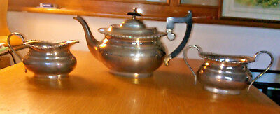 VINTAGE GOLD PLATED TEAPOT WOOD HANDLE WITH 2 GRAVY BOWL IBox5
