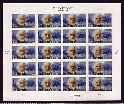 At Face! #4124 Henry Longfellow. Mint Sheet. F-Vf Never Hinged.