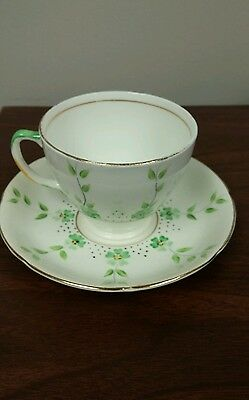 Sampson Smith Bone china Green flowers and vines teacup and saucer
