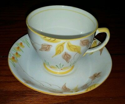"Sampson Smith ""Old Royal"" Bone China yellow and brown leaves Cup/Saucer"