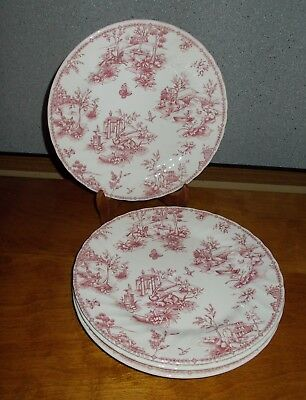 Churchill Pink Toile Dinner Plates Lot of 4 Scalloped Swirl Rim 10  Excellent! & CHURCHILL Pink Toile Dinner Plates Lot of 4 Scalloped Swirl Rim 10 ...