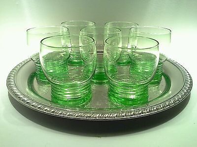 "Stuart Crystal ""Stratford Rings"" Footed Cordial Glasses & SilverplateTray"