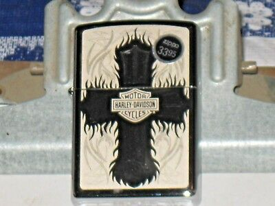 A New ZIPPO Windproof Lighter 28982 Harley Davidson Motor Cycles Christian Cross