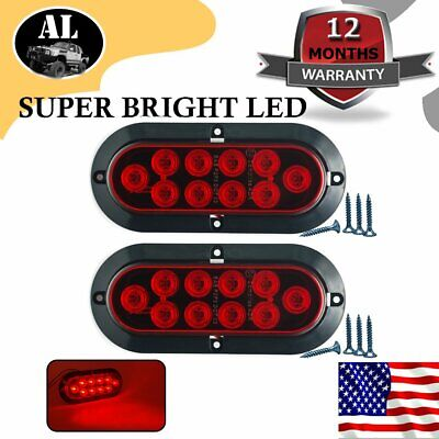 "2X 10 LED 6"" Red Oval Surface Mount Brake Stop Tail Light Car Truck Trailer US"