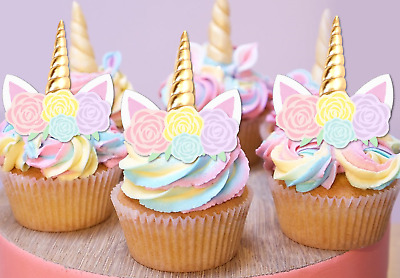 24x Mini Unicorn Gold Horn Pastel Flowers Edible Cupcake Toppers Decoration #113