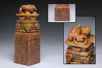 Chinese Shoushan Furong Stone Seal PIXIU Stamp Statue / W 7 × H 22[cm] , 2.45kg