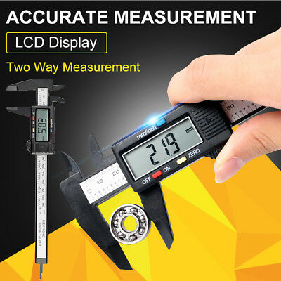 "150mm/6"" LCD Digital Electronic Carbon Fiber Vernier Caliper Gauge Micrometer US"