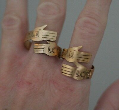 "Vintage ""Love Me"" Metal Copper Tone Hands Wrap Rings (2) Art Signed Light Weight"