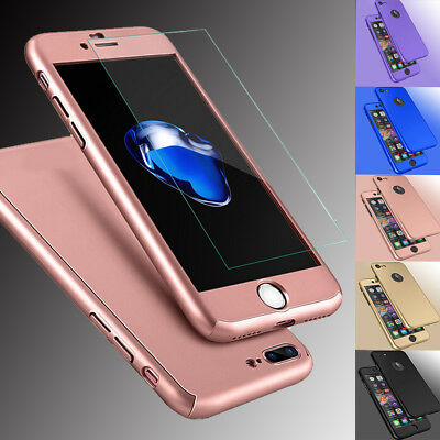 For iPhone 8 6S 7/ 7 Plus Hybrid Heavy Duty Protective Case Cover+Tempered Glass